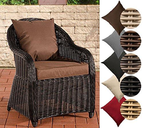 CLP Polyrattan-Sessel FARSUND inklusive Sitzkissen I Robuster Gartenstuhl mit einem Untergestell aus Aluminium I erhältlich Rattan Farbe schwarz, Bezugfarbe: Terrabraun