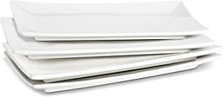 LIFVER 10 Inch Porcelain Serving Platters, Rectangular Plates, White, Set of 4