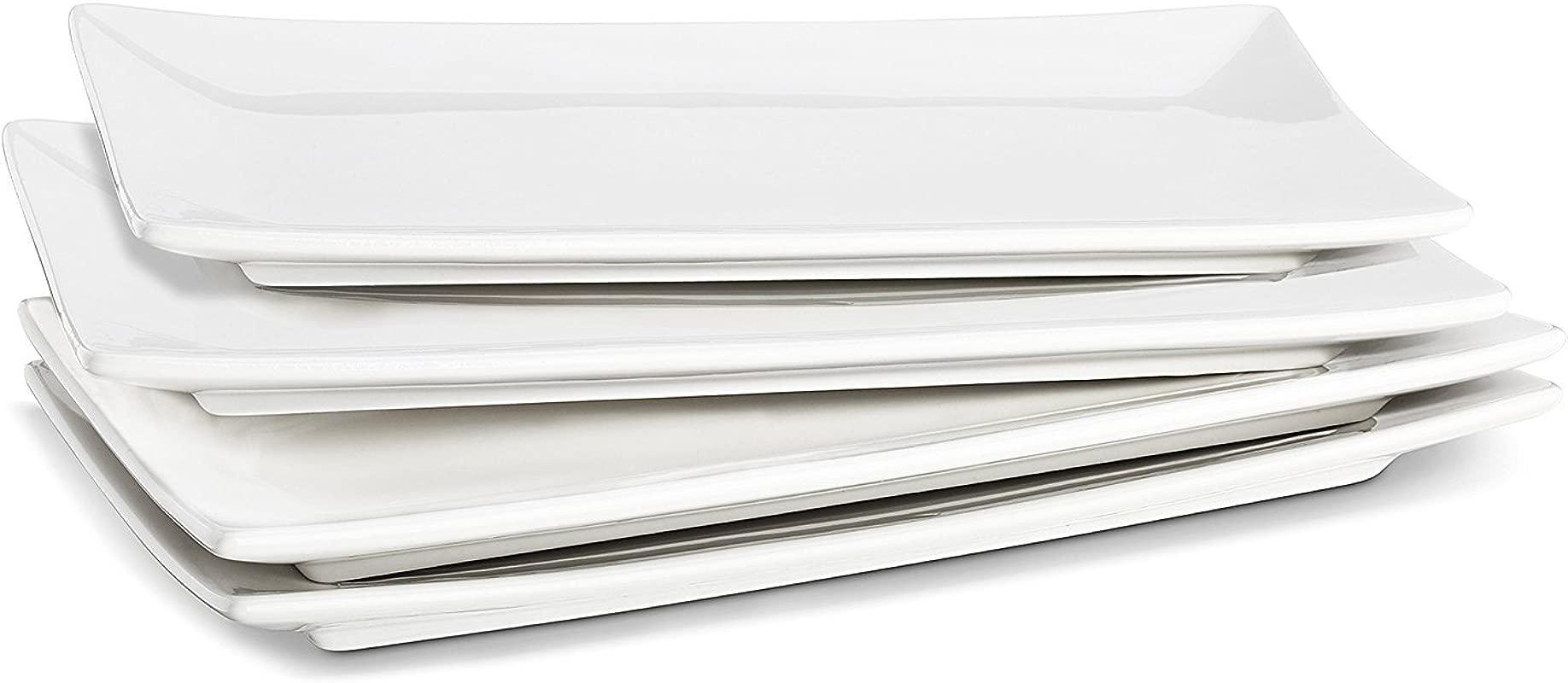 LIFVER 10 Inch Porcelain Serving Platters Rectangular Plates White Set Of 4