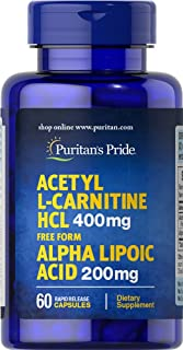 Puritans Pride Acetyl L-carnitine Free Form 400 Mg with Alpha Lipoic Acid, 200 Mg, 60 Count