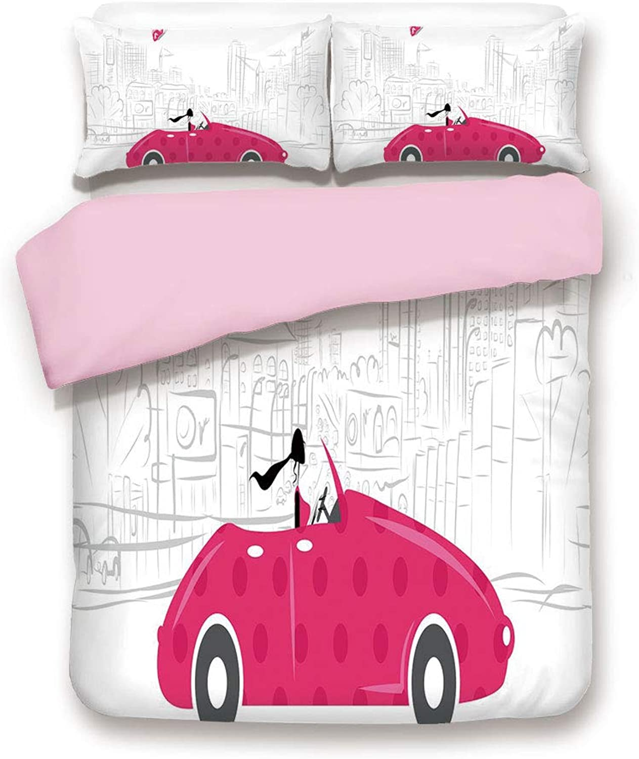 Pink Duvet Cover Set& xFF0F;FULL Size& xFF0F;Woman Driving Pink Vintage Car Sketchy Cityscape and Butterfly Girls Cartoon& xFF0F;Decorative 3 Piece Bedding Set with 2 Pillow Sham& xFF0F;Best Gift For Girls Women& xFF0F;Hot Pink Grey Bl