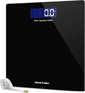 Báscula de peso, SmarTake Digital de precisión para el baño corporal con tecnología de escalón, pantalla LCD retroiluminad...