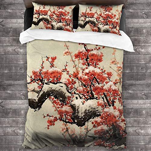 ZUL Duvet Cover Set,Plum Blossom Stock Illustration,Decorative 3 Piece Bedding Set with 2 Pillow Shams,135 * 210cm*1