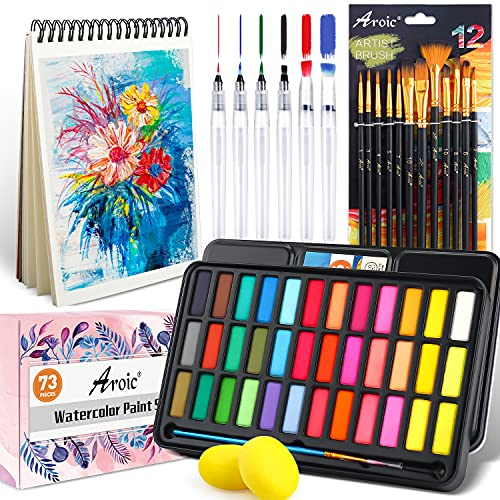 AROIC Solid Watercolor Paint Set, Include 36 Color Paint ,12 PCS Nylon Brush,6 PCS Refillable Water Brush Pen, 16 Page Pad(A5), 2PCS Art Sponges. Painting Supplies Kit for Adults, Kids and Beginners.