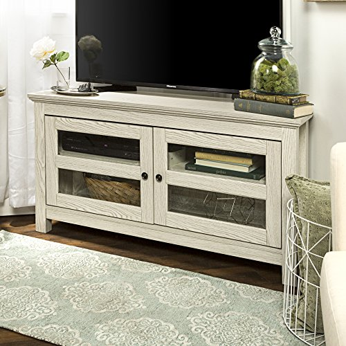 New 44 Inch Corner Television Stand in White Wash Finish