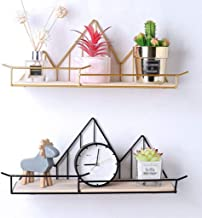 Nesee Floating Shelves Wall Mounted Rustic Metal Wire Storage Shelves for Picture Frames, Collectibles, Decorative Items, Great for Living Room, Office, Bedroom, Bathroom, Kitchen