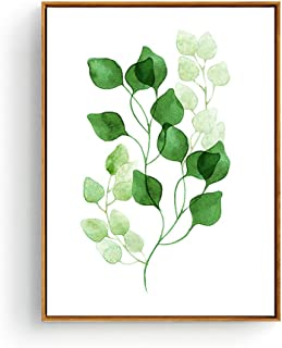 Hepix Green Leaves Canvas Wall Art Botanical Print Wall Decor Framed Simple Decorative Wall Artwork for Modern Home Decor Stretched and Framed Ready to Hang 13 x 17 inch