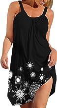 Kenoce Women Sleeveless Mini Dress Summer Casual Loose Sundress Beach Bikini Swimsuit Cover Up