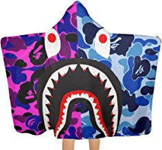 VIMMUCIR1 Hooded Throw Blanket, Bape Blood Shark Soft Warm Wearable Blankets Cape Cloak Throw Wrap for Kids Adults