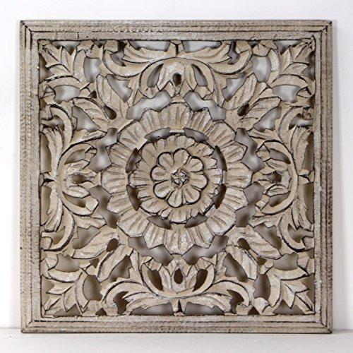 -Mandala de Pared, Fabricada artesanalmete en España, tamaño 40x40 cm, Modelo GR93. Forma Cuadrada (Piedra Tabaco)