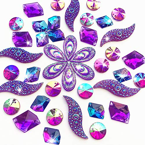 50PCS Special Effect Different Shapes Mirror AB Gems Sew On Rhinestones Faceted for Handicrafts Clothing Dress Decorations (Purple) (Jewel Effects)