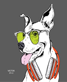Eaiizer Poster Wall Art Print Animal The Dog Portrait in Hip Hop Hat Headphones 18x24 Inches Artwork for Home Bedroom Decor