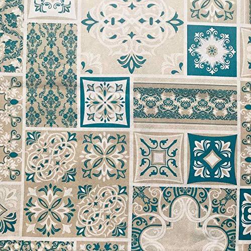 Kt KILOtela Tela de loneta Estampada - Retal de 300 cm Largo x 280 cm Ancho   Azulejos - Azul Turquesa, Beige, Blanco ─ 3 Metros