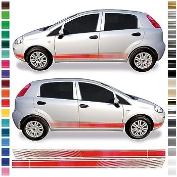 Auto Dress Seiten Streifen Aufkleber Set Dekor Passend Für Fiat Punto In Wunschfarbe Schwarz Glanz Auto