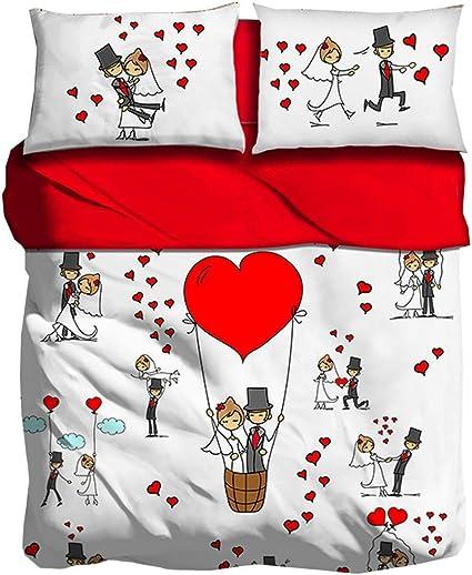 Completo Lenzuola Honeymoon Matrimoniale Copriletto Stampa Digitale 3d Sposi Giosal Amazon It Casa E Cucina
