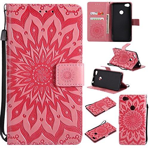 Guran® PU Leder Tasche Etui für Xiaomi Redmi Note 5A Smartphone Flip Cover Stand Hülle & Karte Slot Hülle-rosa