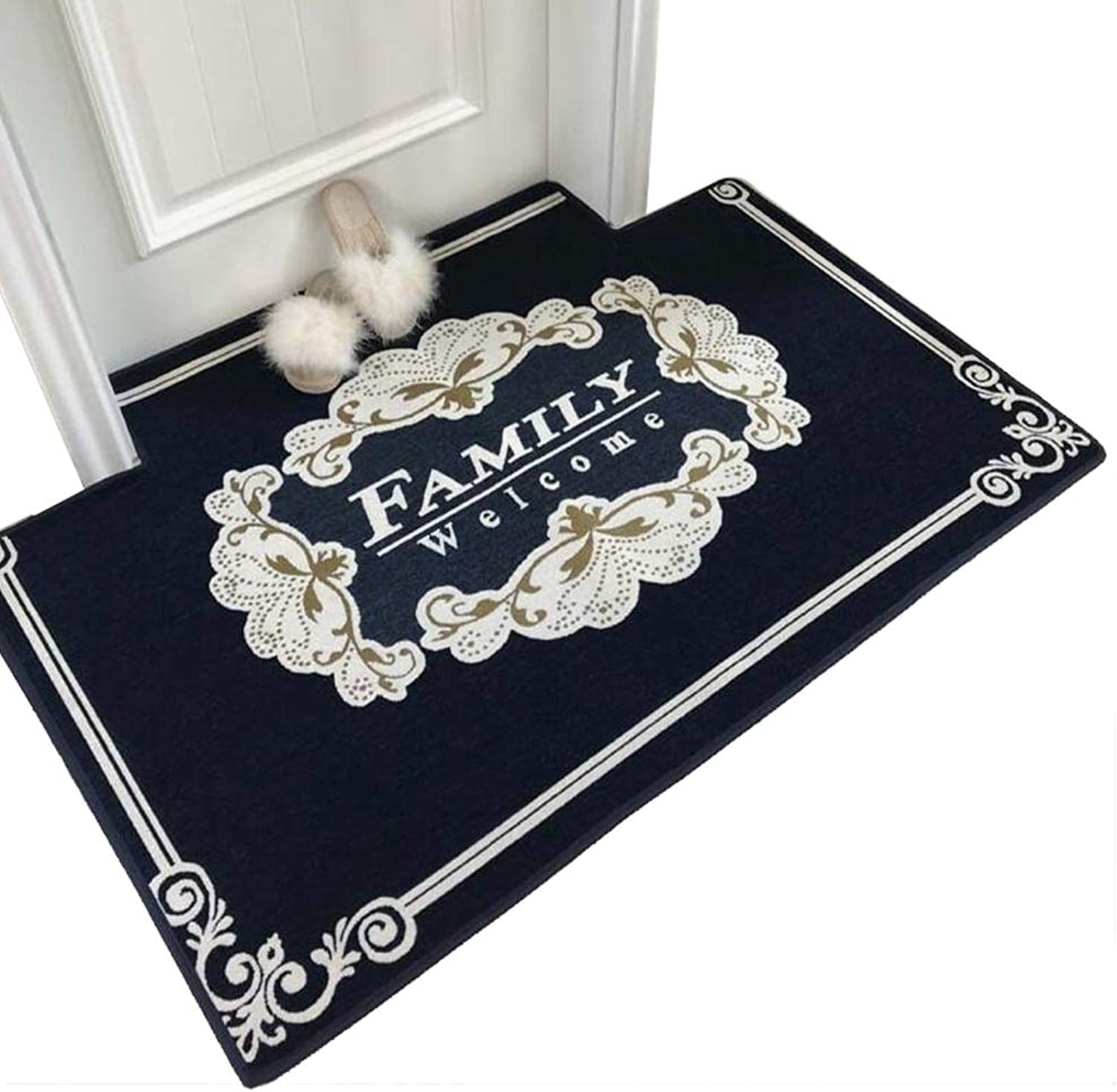JIAJUAN Welcome Doormat Home Indoor Washable Kitchen Bedroom Entryway Rug Water Absorption Non-Slip Floor Mats (color   bluee, Size   100x140cm)