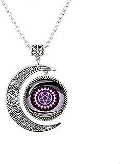 hars Fashion Moon Necklace Cosplay Black Butler Pentagram Sebastian Michaelis Demon Symbol Yana Toboso Manga Jewelry Glass Cabochon Moon Necklace