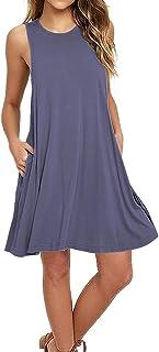 AUSELILY Women's Sleeveless Pockets Casual Swing T-Shirt Dresses