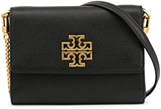 Tory Burch 67296-001 Black Britten Chain Leather Women's Wallet, Small