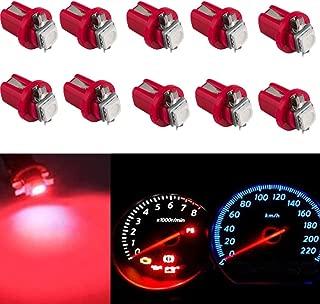 Keyecu 10 PCS T5 B8.5D 5050 1SMD Car LED Instrument Panel Indicator Light Interior Gauge Cluster Light Bulb (Red)