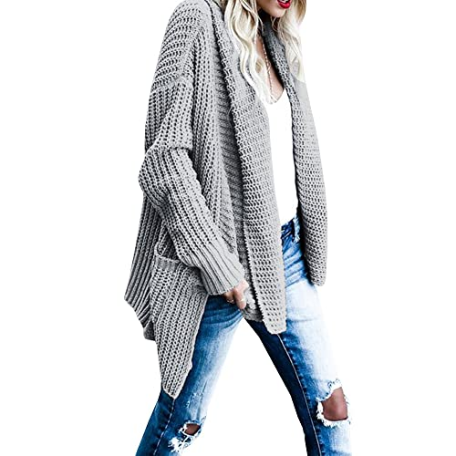 Gobought Women s Casual Long Sleeve Chunky Cable Lapel Draped Knit Sweater  Cardigan Coat with Pockets 2375bbabc