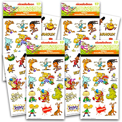 Nickelodeon Retro Nick Stickers 4 Pack ~ 100 Retro Nickelodeon Stickers Featuring Rugrats, Rocco's Modern Life, Catdog, Hey Arnold, Ren and Stimpy, and More   Nickelodeon Party Favors Party Supplies