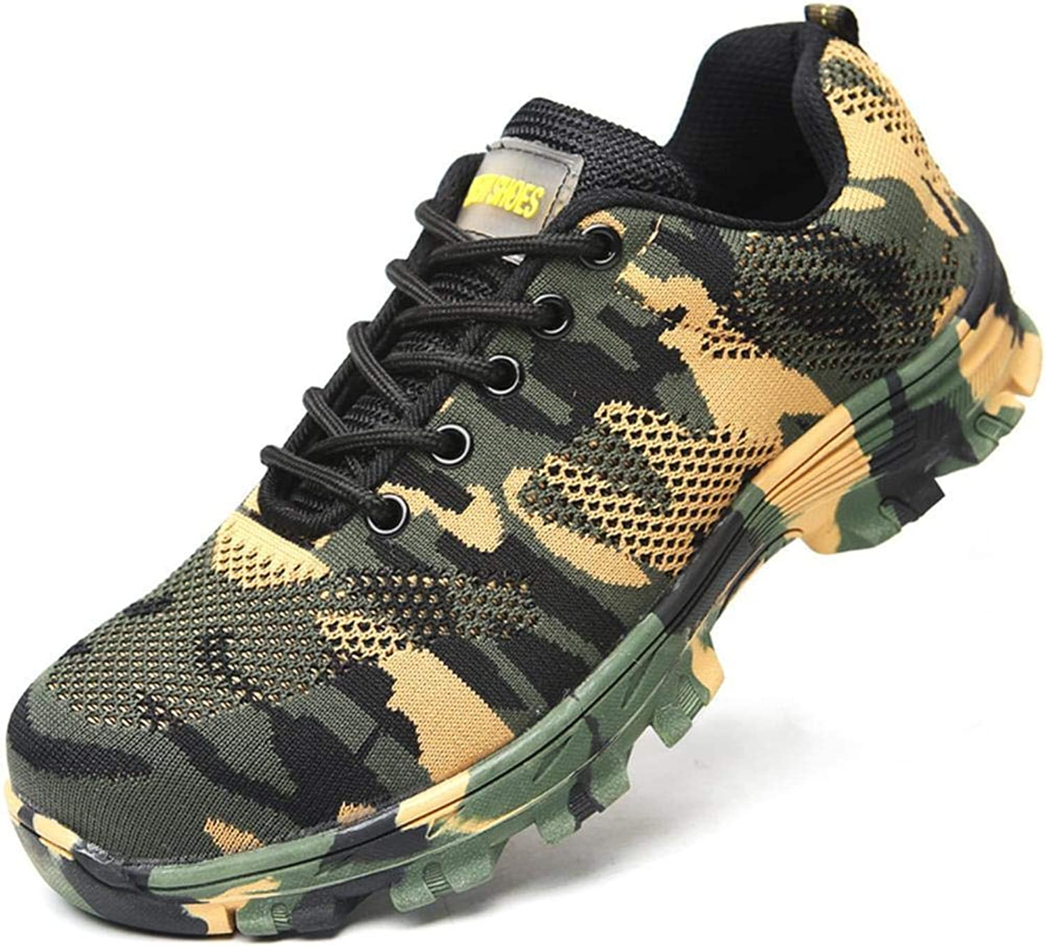 Nimhes Camouflage Woven Spring Mesh Steel Toe Cap Puncture Proof Work Safe Boots Lace-ups
