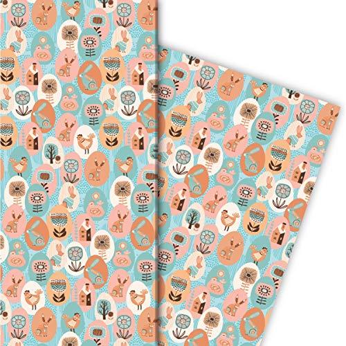 Kartenkaufrausch Folklore Geschenkpapier Set mit schönen gemalten Ostereiern für liebevolle Geschenkverpackung 32 x 48cm, 4 Bögen zum Einpacken für Geburtstage, Geburt, Ostern, hellblau