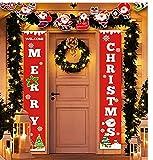 Idefair Frohe Weihnachten Halloween Banner, Neujahr Outdoor Indoor Weihnachtsschmuck Willkommen Bright Red Xmas Veranda Zeichen hängen für Home Wall Tür Holiday Party Decor