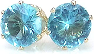 Aashya Mayro Women's/Girls Simulated CZ Diamond and Silver Plated Ocean Sky Blue Crystal Stone Stud Earring