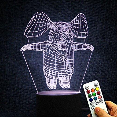 Deerbird® Mignonne Dessin animé Éléphant 3D Optique LED Illusion 7 Changement de couleur Toucher Base blanche télécommande Lampe de table de bureau Lampe de nuit pour bébé Enfant Cadeau pour enfants
