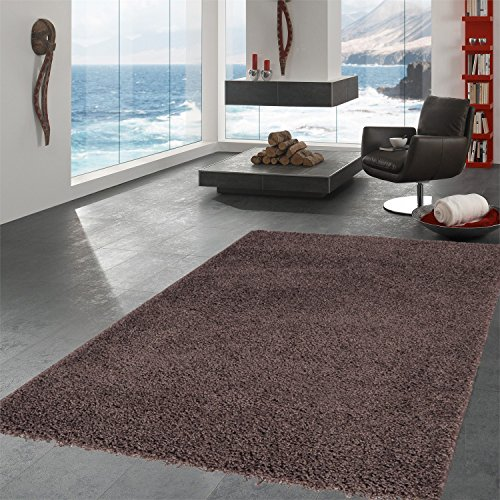 """Ottomanson Soft Cozy Color Solid Shag Area Rug Contemporary Living and Bedroom Soft Shag Area Rug, Brown, 5'3"""" L x 7'0"""" W"""