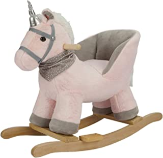ROCK MY BABY Baby Rocking Horse with Chair,Unicorn Rocker,Pink Unicorn Pony Rocking Chair,Rocking Animals,Wooden Rocking Horse Baby Animal Rocker Ride on for Toddlers Girls(Pink Unicorn for 12M+)