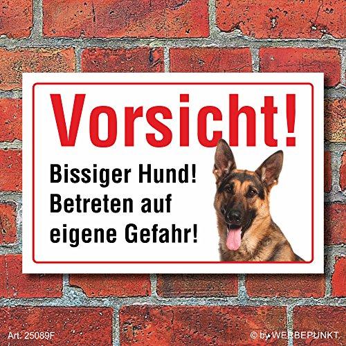 """Vorsicht """"Bissig"""", Schäferhund, Hund, Schild, Hinweis, 3 mm Alu-Verbund Motiv 1 300 x 200 mm"""