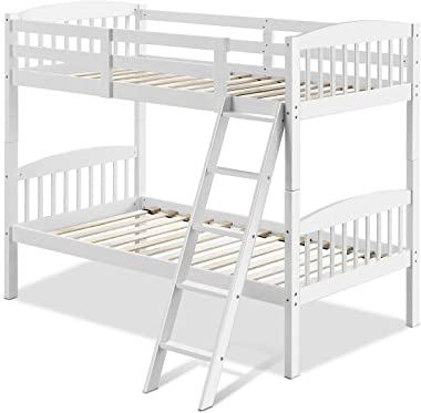 Cypress Shop Twin Bunk Beds Wooden Convertible Individual Beds Rubber Wood Bed Frame Ladder Hollowed-Out Design Fence Kid Bed Dorms Bedroom Guest Dormitory Bedroom Sleepers (White)