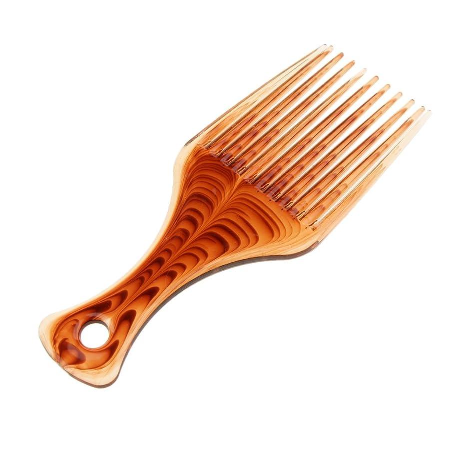 フェード家具解釈的茶色の広い歯のプラスチックアフロ髪ピックくしディタングルウィッグブレイドスタイリングリフトヘアブラシ