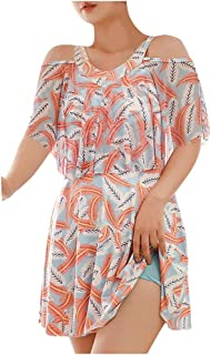 Women's Loose Bikini Dress Cover Up Short Sleeve Mesh Print Bohemia Girls Plus Size Beach Swimsuit Swimwear