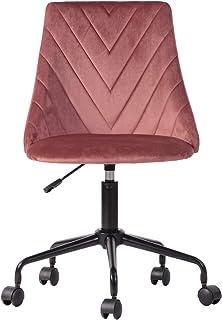YATA HOME See the difference Silla de oficina cómoda de terciopelo rosa para ordenador de altura ajustable, silla de gamer