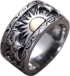 Vintage Black 925 Sterling Silver Gold Rising Sun Ring Band Jewelry with Eagles for Men Women Size 8-11.5