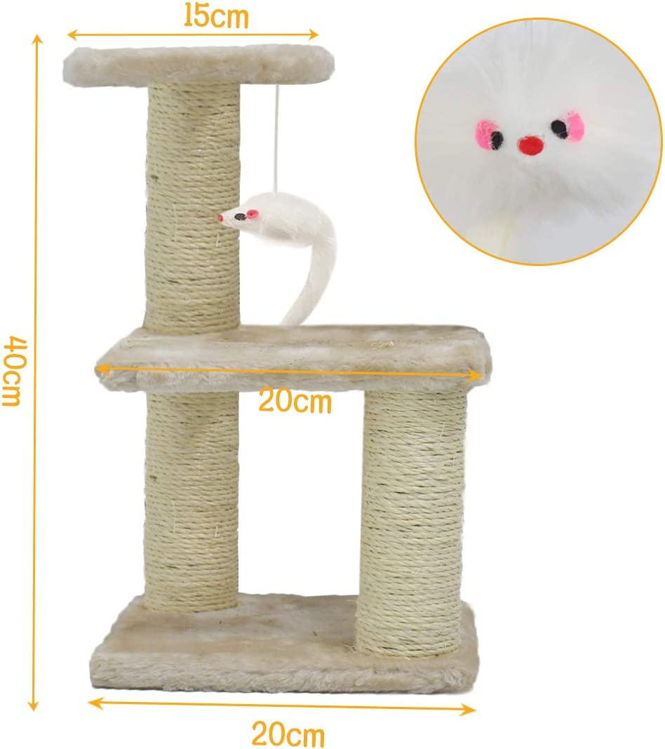 Brown Three levels Cat Scratching Post Kittens Furniture Climber House Cat Activity Centres with Sisal Scratching Posts for Kittens Playing Relaxing and Sleeping Zubita Cat Tree Tower