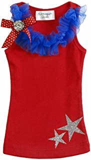 Little Girls 4th of July Patriotic Ruffle Stars T Shirt