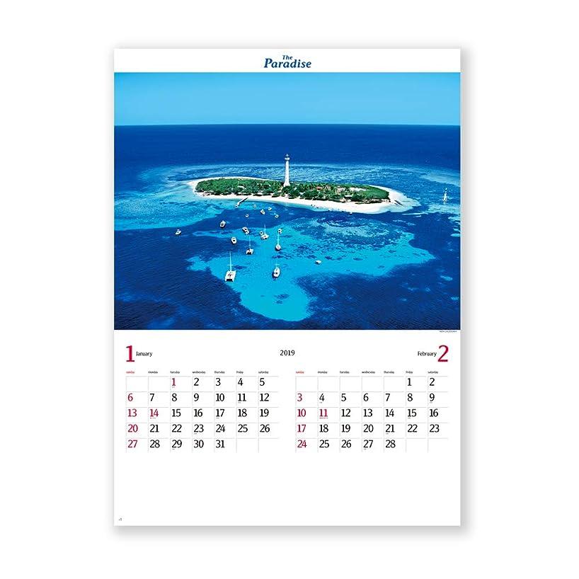 ナンセンススリッパ結紮新日本カレンダー 2019年 パラダイス カレンダー 壁掛け NK113 (2019年 1月始まり)
