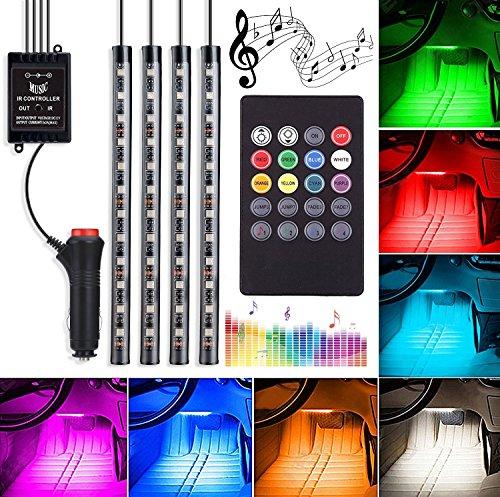 Striscia LED per auto, 4-Pack 48 LED RGB Luce auto sottoscocca, Luci al neon sottotraccia, Kit striscia luminosa per interni auto con Sound Active e telecomando senza fili