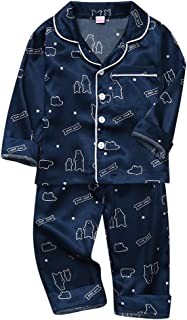 Youmymine Toddler Kids Baby Boys Girl Long Sleeve Pajamas Casual Cartoon Sleepwear Shirt Shorts Clothes Set