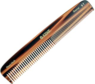 """Kent 9T 7 1/2"""" 192 mm Handmade Comb. Coarse and Fine Toothed Comb Sawcut, Large. (3 PACK)"""