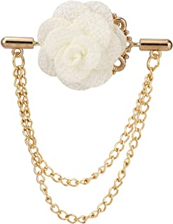 A N KINGPiiN Broche de solapa con cadena doble para colgar, diseño de flor blanca