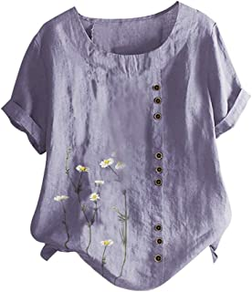 ZSBAYU Linen Shirts Summer Casual Plus Size Blouse Pullover Womens O-Neck Button Short Sleeve Floral Print Tops Tunic