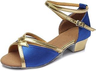 HIPPOSEUS Zapatos de Baile Latino para niña Satén Fiesta de salón Zapatos de Baile de Salsa Tacón bajo
