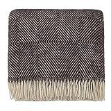 URBANARA 140x220 cm Wolldecke 'Gotland' Schwarz/Creme — 100prozent Reine skandinavische Wolle — Perfekt als Überwurf, Plaid oder Kuscheldecke für Sofa & Bett — Warme Decke aus Schurwolle mit Fransen